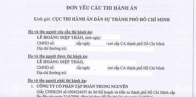 Đơn yêu cầu thi hành án của bà Diệp Thảo gửi Cục Thi hành án Dân sự TP.HCM