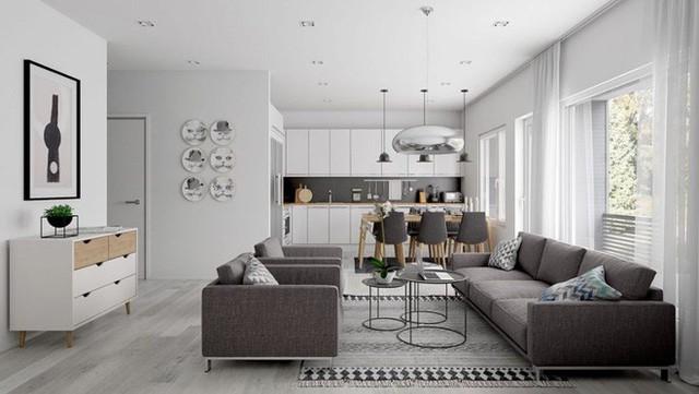 Với việc thiết kế một không gian theo phong cách mở thì những gam màu trung tính luôn là lựa chọn hàng đầu. Trong đó, trắng và xám luôn là một cặp màu không thể nào bỏ quên được.