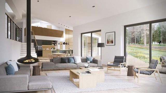 Sự ăn ý trong cách lựa chọn đồ nội thất màu xám tạo ra vẻ đẹp hiện đại đầy lôi cuốn cho căn phòng sinh hoạt chung của cả gia đình.