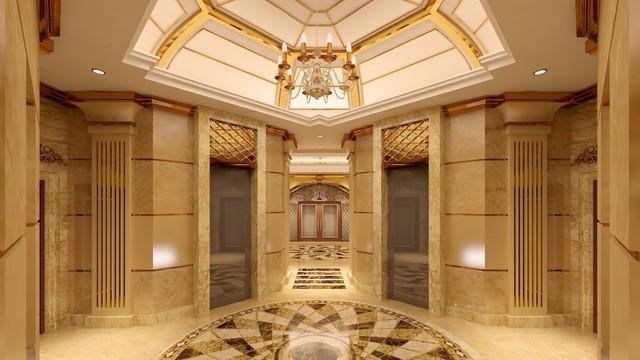Thiết kế thang máy hoàn hảo với 4 thang máy đối xứng phục vụ cư dân, nằm dưới mái vòm hình bán cầu, được thiết kế theo phong cách kiến trúc Pháp thời vua Louis XIV.