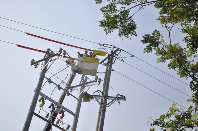Thợ điện sửa điện cao áp nhưng dẫn vân có điện để dùng.