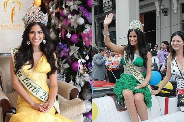 Trước đây, các hoa hậu đương nhiệm được sử dụng phiên bản cho một số hoạt động. Trong ảnh là Hoa hậu năm 2011 người Ecuador đội hai vương miện khác nhau.