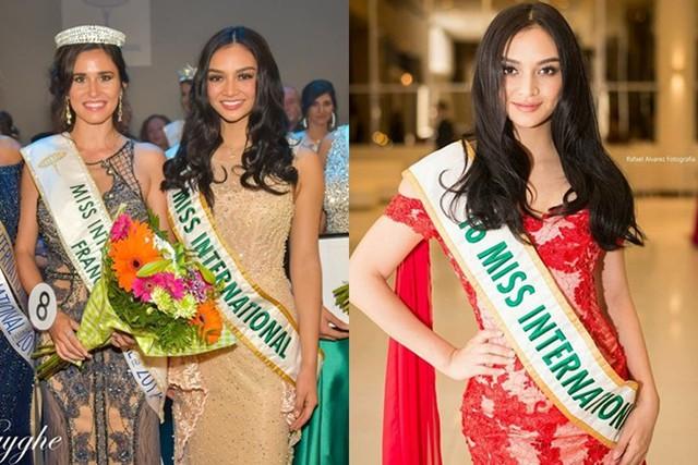 Vì vương miện giá trị lớn, Miss International 2016 - Kylie Verzosa cũng hiếm khi được đội dù cô sang Pháp (trái) và Paraguay (phải) trao giải cho hoa hậu nước bạn.