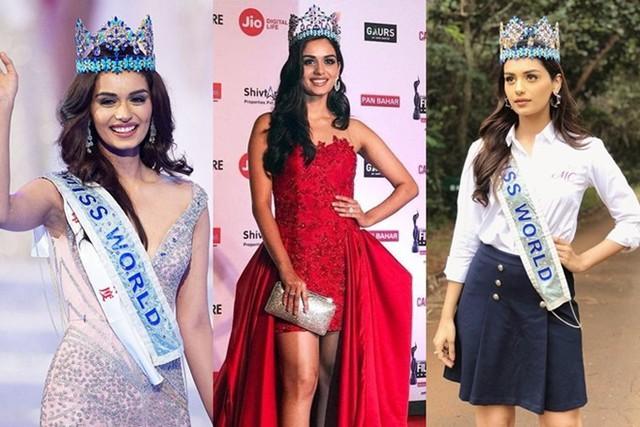 Vương miện Miss World có hai phiên bản. Trong đêm chung kết, tân hoa hậu được trao chiếc vương miện gốc có trị giá 2 triệu USD (khoảng 45 tỷ đồng). Sau đó, hoa hậu đương nhiệm sử dụng một bản sao có giá khoảng 700.000 USD (gần 16,5 tỷ đồng). Trong ảnh là đương kim Miss World 2017 - Manushi Chhillar luôn sử dụng vương miện khi xuất hiện trước công chúng.