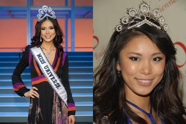 Người cuối cùng đeo Mikimoto ở giai đoạn trước là Hoa hậu Nhật Bản - Riyo Mori năm 2007. Ban tổ chức Miss Universe cũng chuẩn bị một vương miện bản sao (phải) cho hoa hậu đương nhiệm sử dụng. Đây cũng là món quà dành cho hoa hậu sau khi kết thúc nhiệm kỳ.