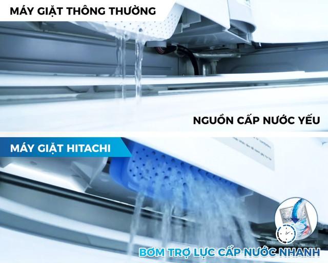 Máy giặt SF-S95XC của Hitachi giúp giặt nhanh hơn với bơm cấp nước cực mạnh.