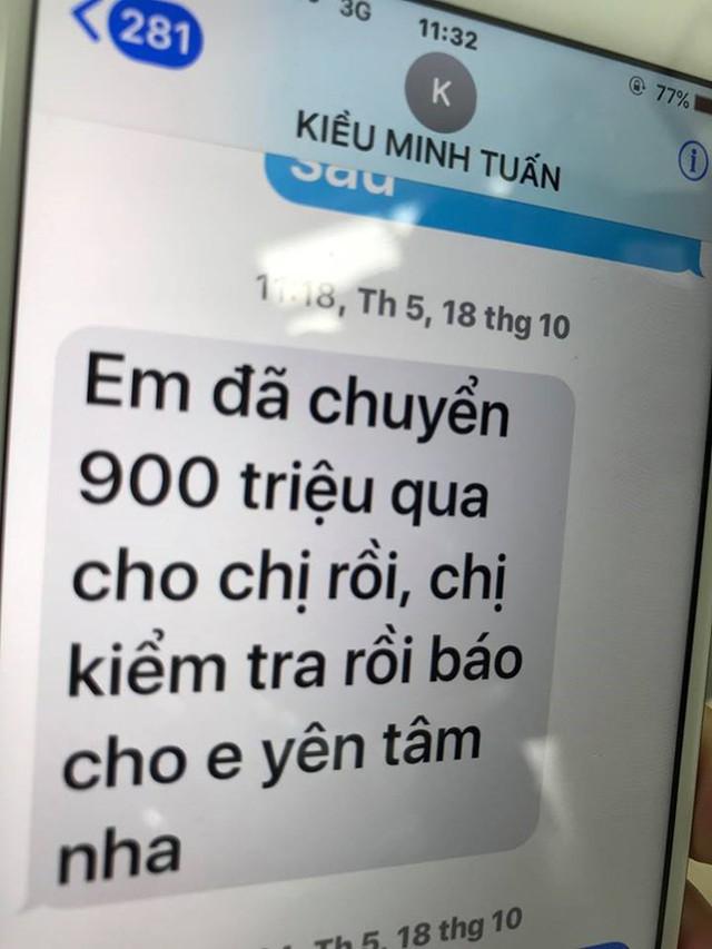 Tin nhắn Kiều Minh Tuấn gửi cho bà Dung để thông báo về việc chuyển tiền.