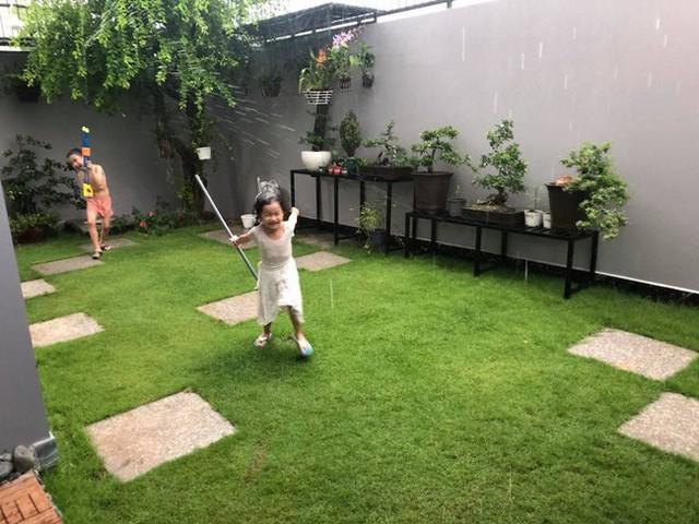 Khu vườn còn được trồng cỏ Nhật để các con thỏa sức vui chơi.