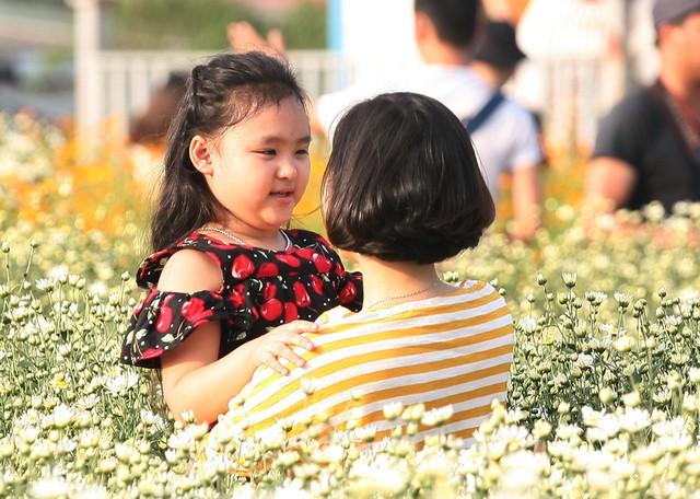 Nhiều bà mẹ trẻ đã cùng ghi lại khoảnh khắc thể hiện tình yêu thương vô bờ với những cô công chúa của mình giữa vườn cúc họa mi.