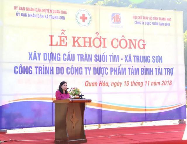 Tổng giám đốc Lê Thị Bình phát biểu tại Lễ khởi công.