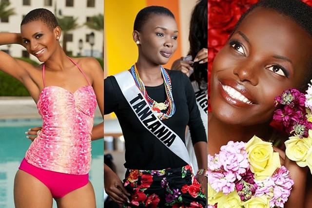 Đất nước Tanzania liên tục có những đại diện sở hữu đầu trọc tại Miss Universe. Trong ảnh là các hoa hậu Tanzania năm 2012, 2013 và 2017 (từ trái sang).