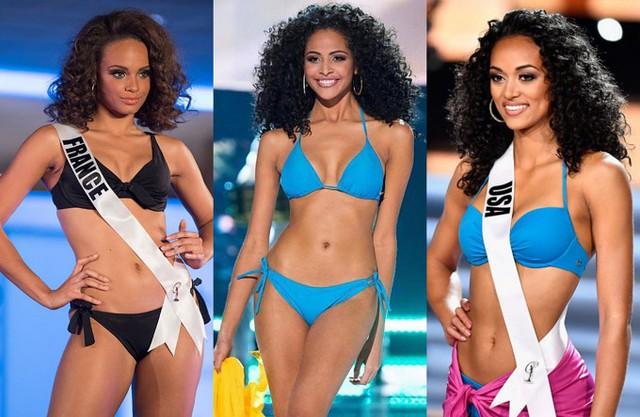 Năm 2017, ngoài đầu trọc, mốt tóc xù như mì gói cũng lên ngôi ở Miss Universe với ba đại diện Pháp, Brazil và Mỹ. Nếu người đẹp Pháp sớm dừng chân, hai đại diện Brazil và Mỹ lọt top 10 nhờ vẻ đẹp khỏe khoắn, cá tính.
