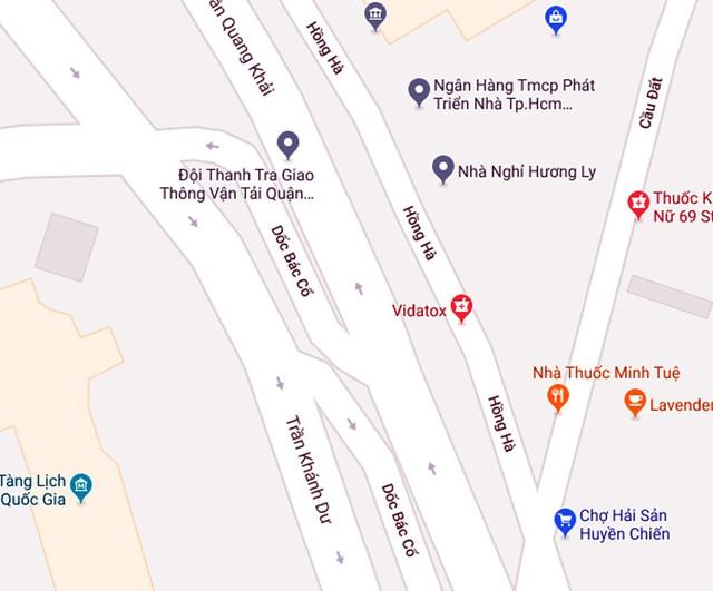 Ảnh Googlemap về khu vực đường Hồng Hà, Dốc Bác Cổ.