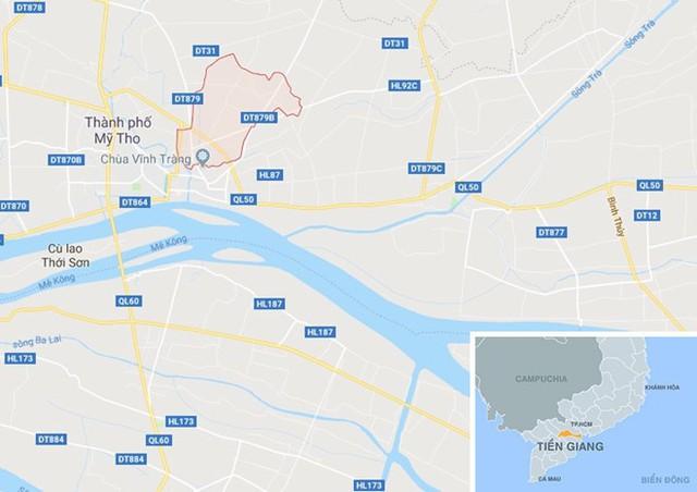 Xã Mỹ Phong (khoanh đỏ), nơi xảy ra vụ việc. Ảnh: Google Maps.