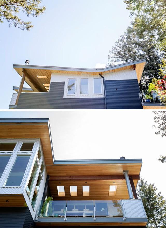 Ngôi nhà có nhiều tầng, được thiết kế mái hình cánh bướm và sử dụng cột chống là thép mạ kẽm không gỉ.