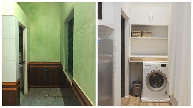 Chị Hương Trang bố trí máy giặt ngay cửa nhà vệ sinh để tiện sử dụng và lấp đầy khoảng trống.