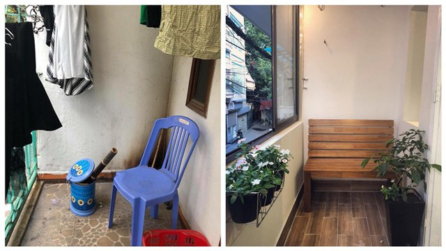 Ban công được cải tạo thành phòng nhỏ có đặt chiếc ghế gỗ để các thành viên trong nhà ngồi thư giãn. Các chậu hoa kích thước vừa mang thêm màu xanh và tính thẩm mỹ cho căn phòng.