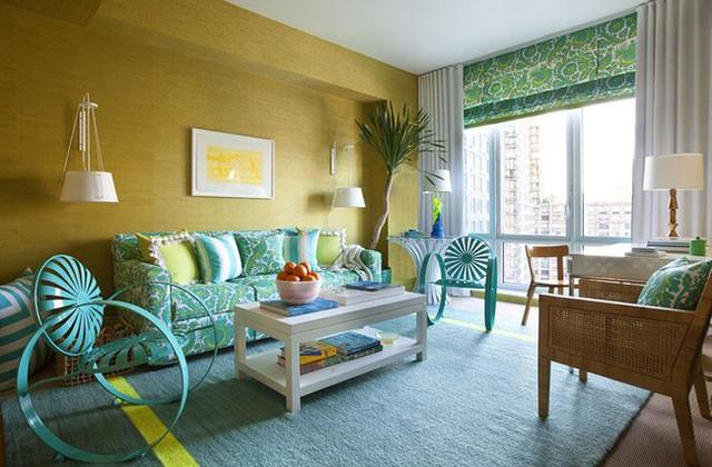 Sự kết hợp giữa gam màu vàng tươi và xanh bạc hà không ngờ lại đem lại cảm giác thoải mái và dễ chịu đến vậy.