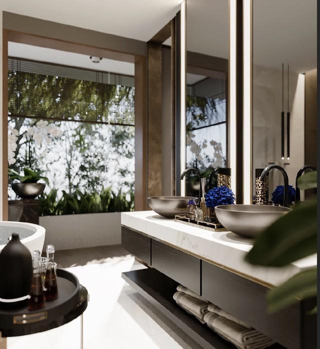 Phòng tắm nhà người đẹp luôn gọn gàng, sạch sẽ và tiện nghi.