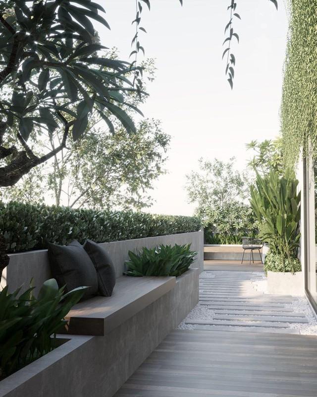 Một góc thư giãn ngoài trời với cây cối xanh mướt mắt. Khoảng không gian quá xa xỉ đối với những người dân sống trong thành phố tấc đất tấc vàng.