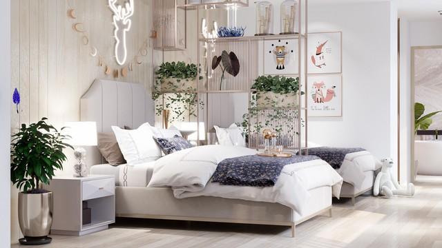 Phòng các con được cô trang trí phòng các bé theo tông màu nhạt, đặt một số loại cây cảnh, vật dụng cho sinh động.