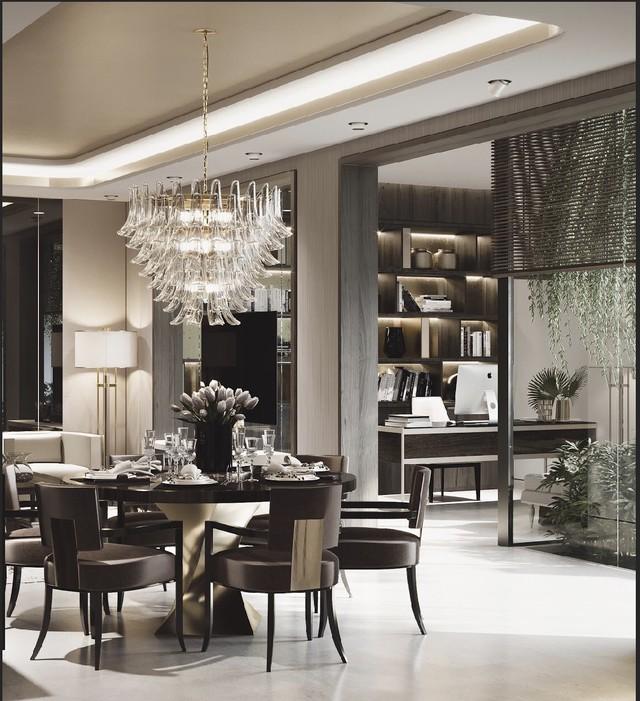 Trong nhà nội thất được sử dụng tông màu xám - đồng tạo cảm giác vương giả.