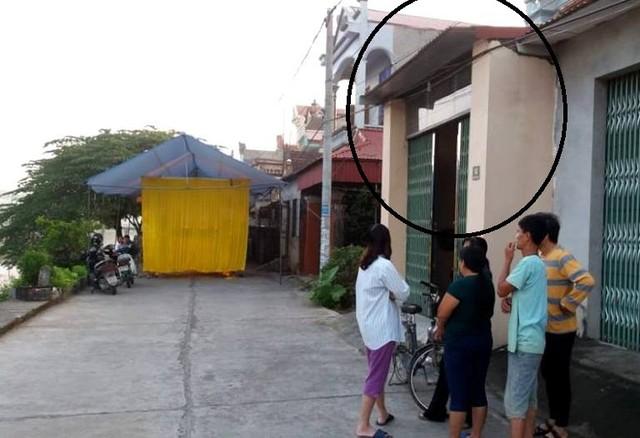 Ngôi nhà đối tượng (khoanh tròn) nằm cách nhà nạn nhân không xa. Ảnh: Đ.Tùy