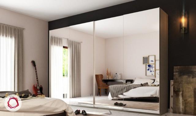 2. Với phòng ngủ nhỏ, chiếc tủ có gắn gương ở cánh vừa giúp tủ đa năng hơn, không cần sắm thêm gương, vừa giúp nhân đôi không gian nhà.