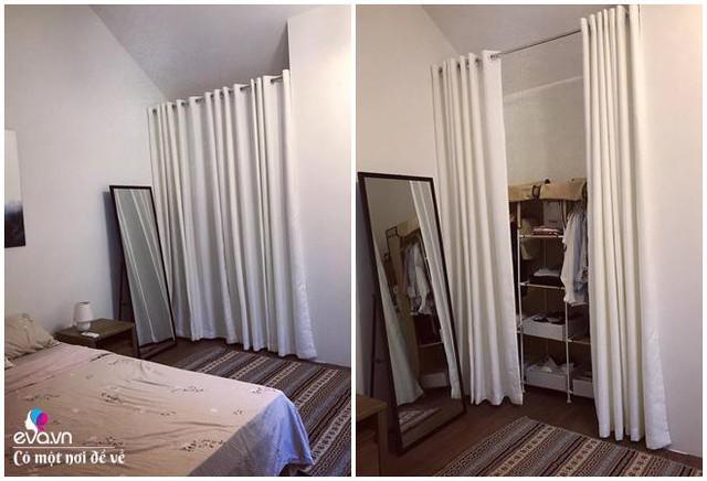 Tủ đồ nhỏ được đặt sau tấm rèm không tạo cảm giác bừa bộn cho không gian.