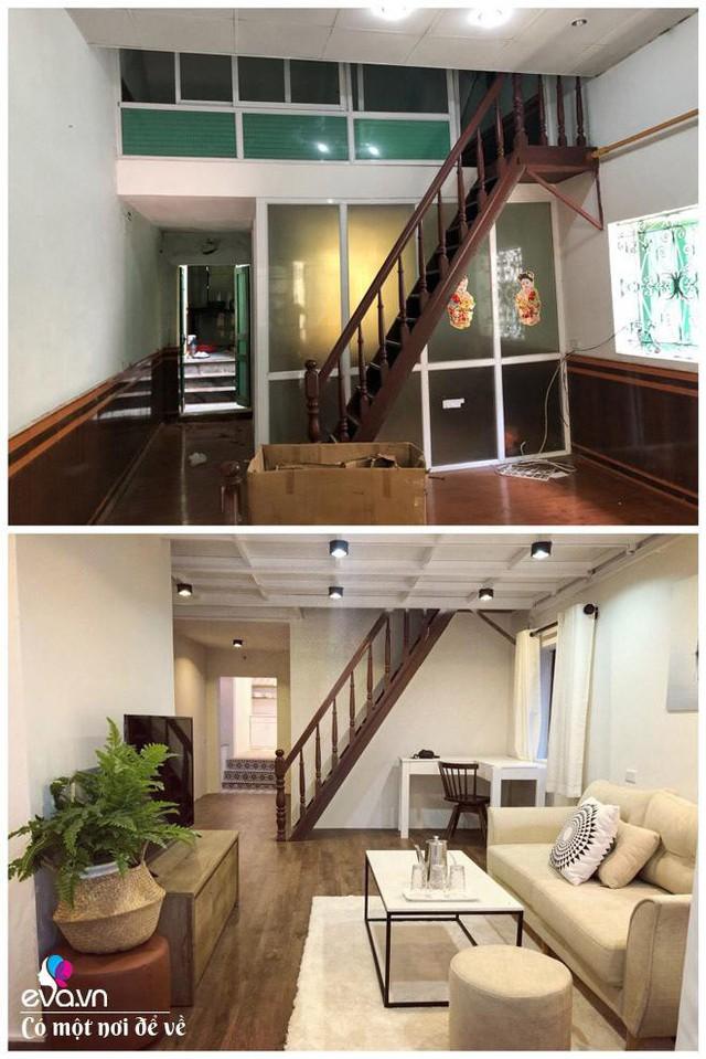 Hình ảnh phòng khách trước và sau khi sửa.
