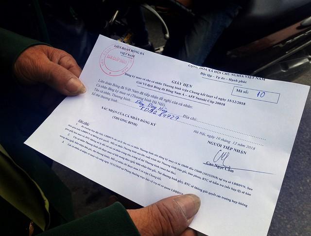 Theo giấy hẹn, vào khoảng 9h sáng ngày 15/12 tới, VFF sẽ tiến hành trả vé cho người hâm mộ.