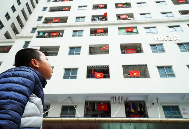 Một bé trai cảm thấy bồi hồi khi ngắm nhìn những lá cờ Tổ quốc bay phấp phới nơi mình sinh sống.