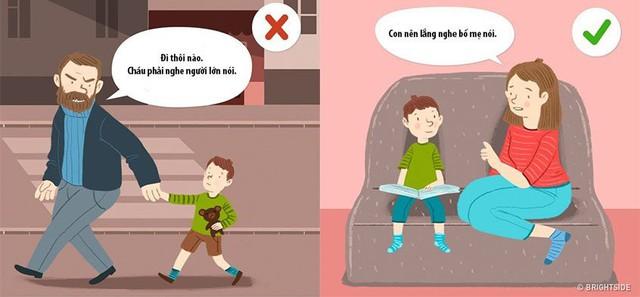 """Cụm từ cha mẹ nên sử dụng:""""Con cần lắng nghe cha mẹ"""". Điều này sẽ giúp trẻ có sự cảnh giác khi gặp người lạ."""