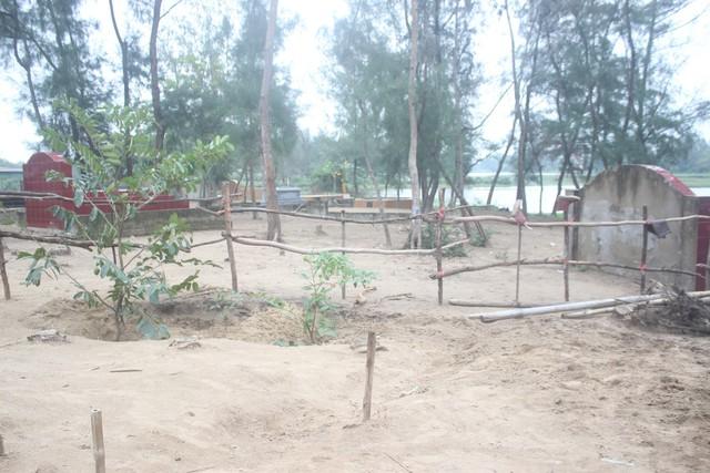 Căn nhà bà Tâm nằm giữa nghĩa địa của thôn Trường Hải.