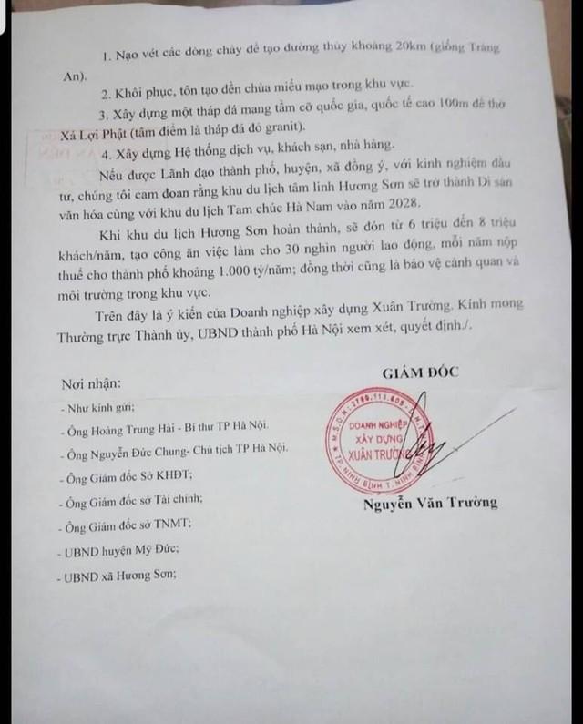 Công văn của Doanh nghiệp xây dựng Xuân Trường xin phép đầu tư xây dựng khu du lịch tâm linh Hương Sơn