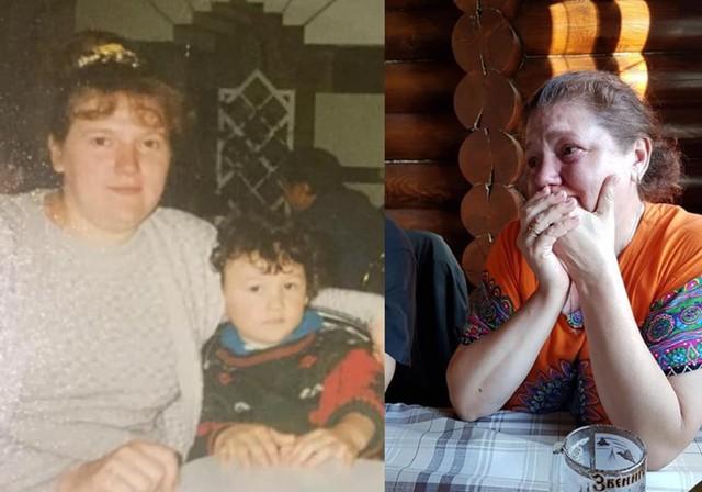 Ảnh Đặng Văn Lâm bên mẹ ngày nhỏ (trái). Nghệ sĩ Linh Nga cho biết cha mẹ (ảnh phải) và người nhà Văn Lâm đều khóc vì xúc động sau trận chung kết.