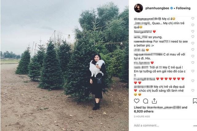 Bức ảnh của bà Huyền được Phạm Hương đăng tải trên Instagram nhận được cơn mưa lời khen từ cộng đồng mạng.