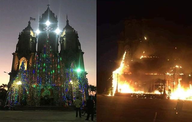 Hình ảnh hang đá nhà thờ trước và trong khi xảy ra đám cháy. Ảnh: T. Hùng.