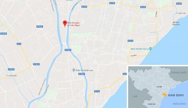 Nhà thờ Liêu Ngạn (chấm đỏ), nơi xảy ra vụ cháy mô hình hang đá Giang sinh. Ảnh: Google Maps.