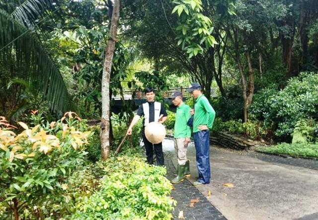 Anh Hoàng Ngọc Tuấn trao đổi với nhân viên cảnh quan về cách chăm sóc cây ở khu nghỉ dưỡng