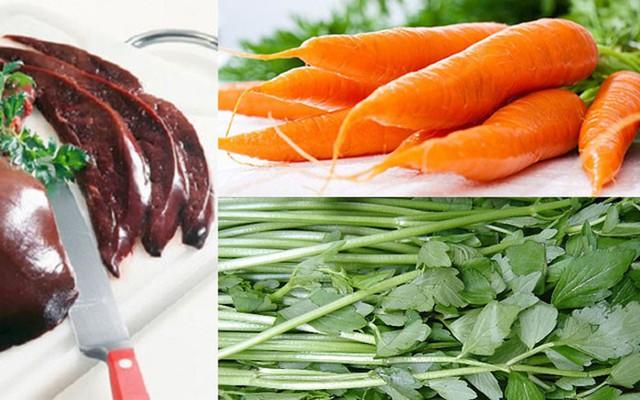 Không nấu gan động vật với cà rốt, rau cần. Ảnh minh họa.