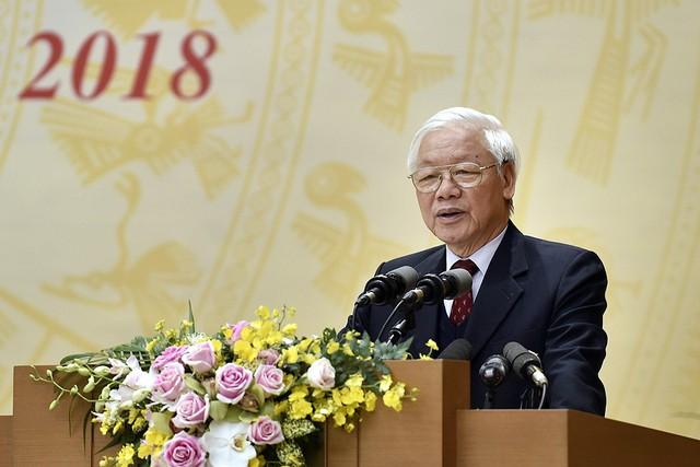 Tổng Bí thư, Chủ tịch nước Nguyễn Phú Trọng đề nghị trong năm 2019 cần phấn đấu đạt kết quả cao hơn năm 2018. Ảnh: CP