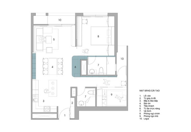 Mặt bằng căn hộ sau cải tạo: Từ cửa chính đi vào là khu vực bếp, ăn uống và tiếp khách liên thông với nhau. Ngay sau đó là ban công. Ở phía bên cạnh là các không gian riêng tư, hai phòng ngủ và hai nhà vệ sinh. Phía sau các phòng ngủ cũng là một ban công.