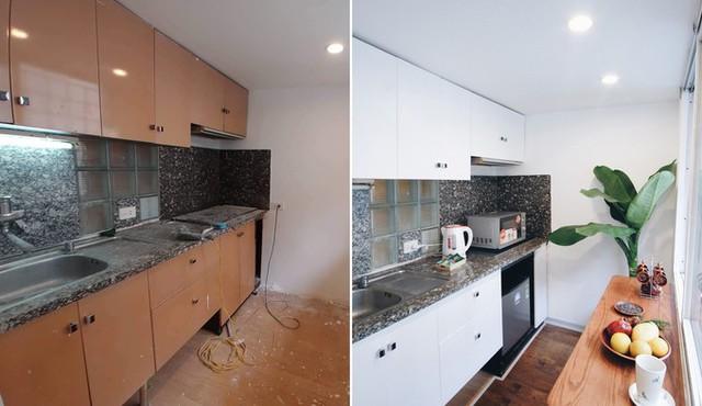 Phòng bếp sáng đẹp, như có thêm sức sống mới sau khi cải tạo.