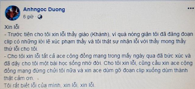 Chị Ánh xin lỗi trên Facebook, sau đó đã bỏ status này vì bị dân mạng tiếp tục lên án. Ảnh chụp màn hình.
