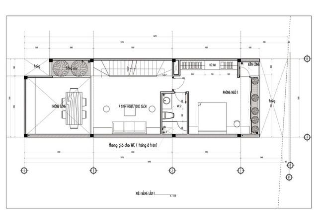 Bản vẽ mặt bằng lầu 1 gồm vườn cây, phòng sinh hoạt - đọc sách, phòng ngủ chính và WC.