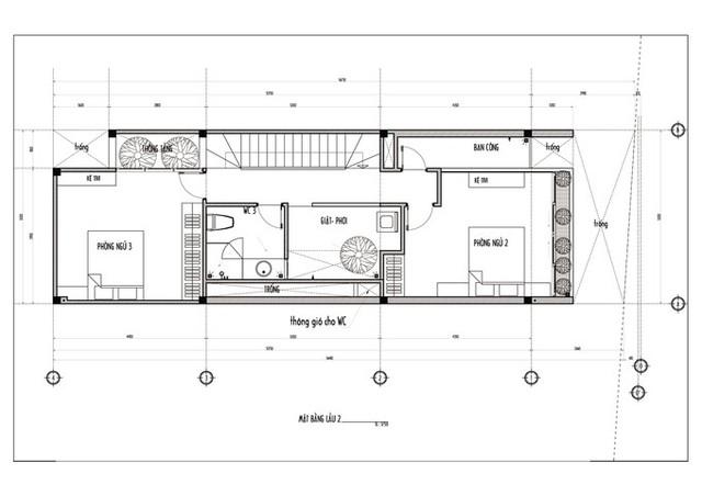 Bản vẽ mặt bằng lầu 2 gồm 2 phòng ngủ, WC, phòng giặt phơi.