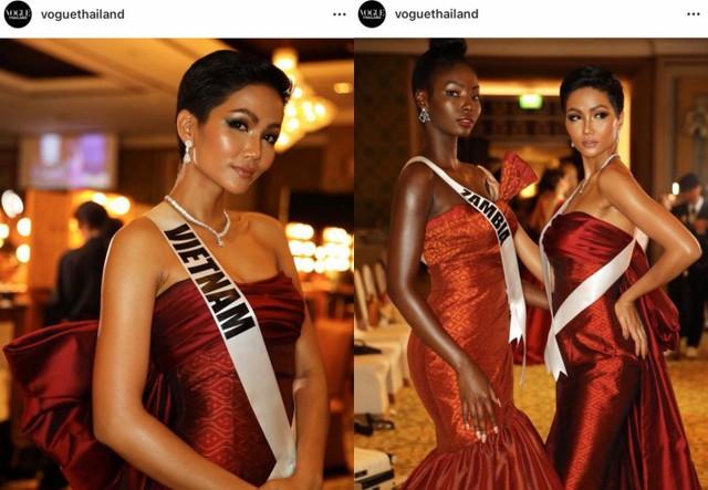 Hình ảnh của HHen tiếp tục phủ sóng trên Instagram của tạp chí Vogue Thailand và là một trong những cô gái được quay phỏng vấn cùng hoa hậu Philippines, Mỹ, Thái Lan.