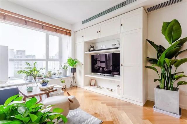 Ở phía Nam, ngôi nhà nhận được nhiều ánh sáng hơn vào ban ngày. Cửa sổ mở tạo hiệu ứng hình ảnh. Ở đây, chủ nhà có thể sử dụng chức năng của một ban công hoặc khu vực nghỉ ngơi. Tủ TV chọn toàn bộ tủ có chức năng lưu trữ với màu trắng kết hợp tường nền trắng đem lại sự thanh thoát, tươi tắn.