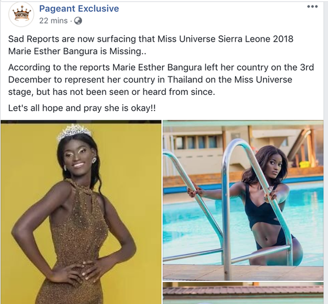 Nhiều chuyên trang về Hoa hậu đăng thông tin Marie Esther Bangura mất tích.